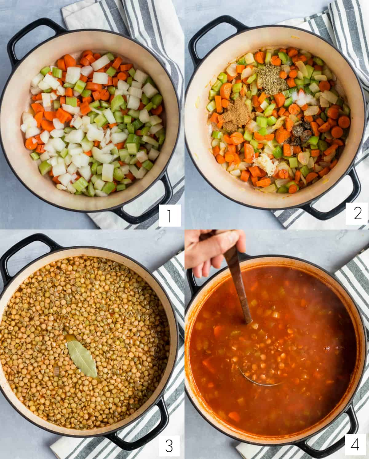 cooking all of the ingredients for lentil and kale soup in a stockpot