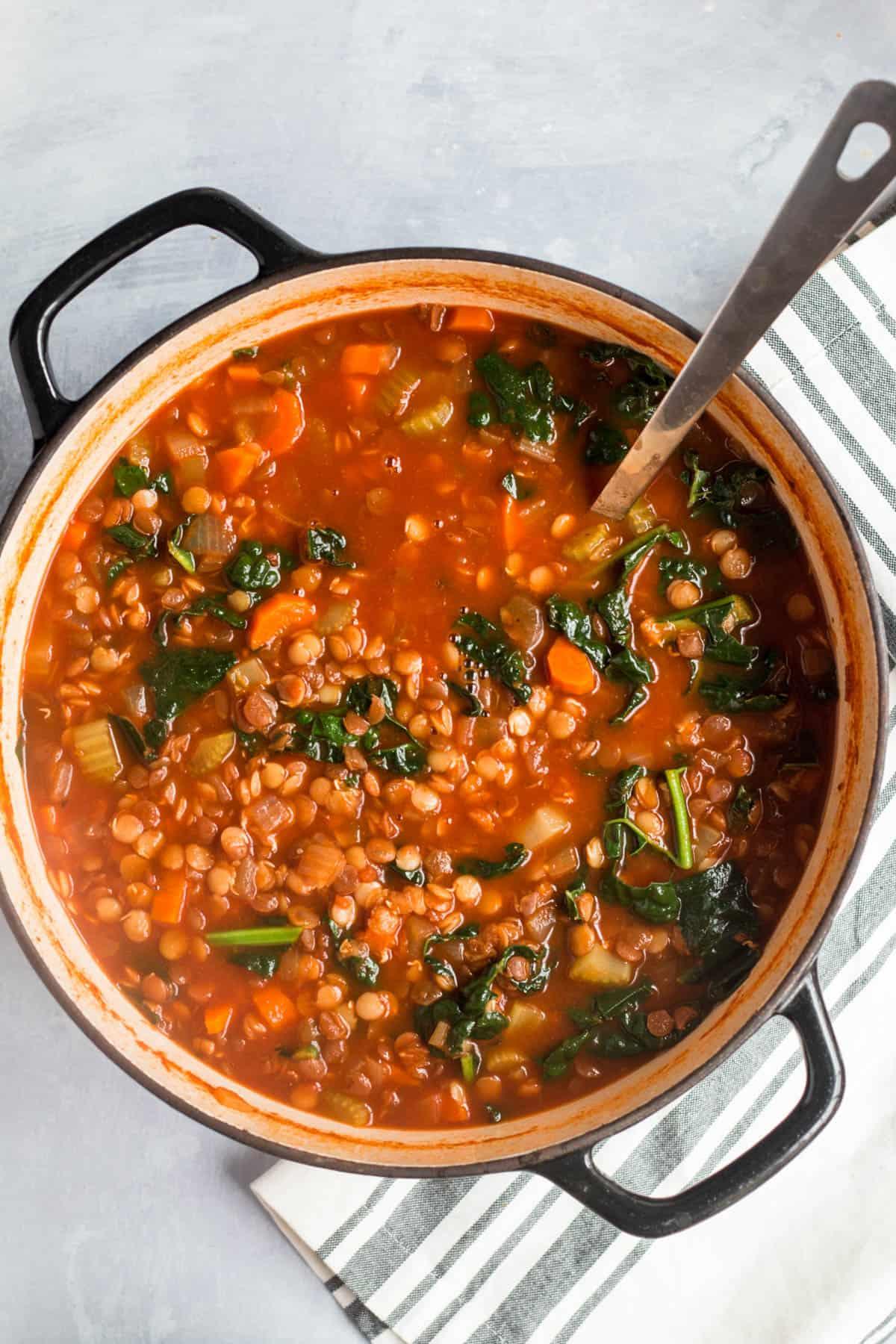 a pot filled with lentil soup
